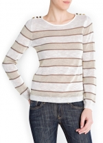 Sheer striped sweater with shoulder buttons at Mango