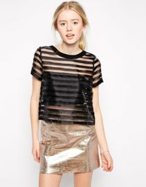 Sheer striped tee at Asos