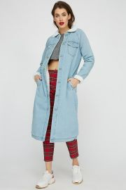 Sherpa Collar Longline Denim Jacket at Urban Planet