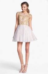 Sherri Hill Embellished Lace Fit andamp Flare Dress at Nordstrom