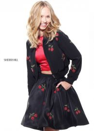 Sherri Hill J51175 / 51269 Two Piece Cherry Dress and Jacket at Rissy Roos