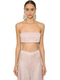 Shiny Embellished Crop Top by Raisa & Vanessa at Luisaviaroma