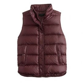 Shiny puffer down vest cranberry at J. Crew