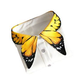Shinywear Unique Yellow Butterfly Shape Decorative Collar Shirt Blouse for Women Girls at Amazon