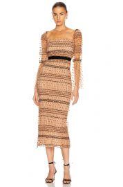 Shirred Polka Dot Midi Dress at Forward