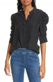 Shirred Sleeve Silk Blouse by Frame at Nordstrom