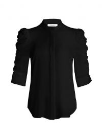 Shirred Sleeve Silk Blouse by Frame at Saks Fifth Avenue