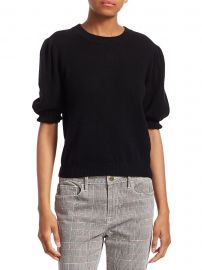 Shirred Sustainable Cashmere Puff-Sleeve Sweater at Saks Fifth Avenue