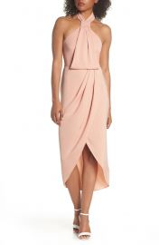 Shona Joy Knotted Tulip Hem Midi Dress x at Nordstrom