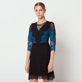 Short Contrasting Lace Dress at Sandro