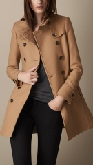 Short Double Wool Twill Trench Coat in Camel at Burberry