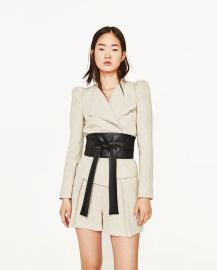 Short Jacket Contrasting Sash at Zara