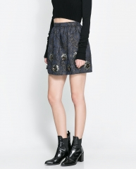 Short Jacquard Skirt at Zara