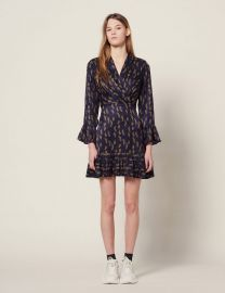 Short Printed Dress with Ruffles by Sandro at Sandro