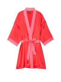 Short Satin Kimono in Ignited W/Neon Hot Pink Trim at Victorias Secret