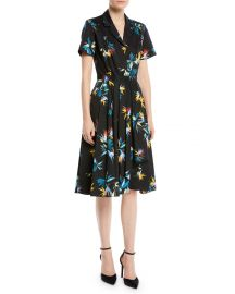 Short-Sleeve Button-Down Floral-Print Cotton Poplin Shirtdress by Jason Wu at Bergdorf Goodman