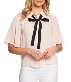 Short Sleeve Collared Ruffle Tie Neck Blouse by Cece at Dillards