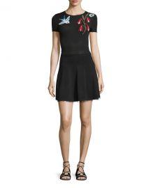 Short-Sleeve Intarsia Dress RED Valentino at Neiman Marcus