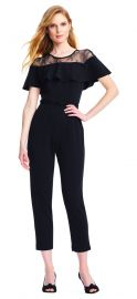 Short Sleeve Jumpsuit with Flounce Illusion Neckline by Adrianna Papell at Adrianna Papell