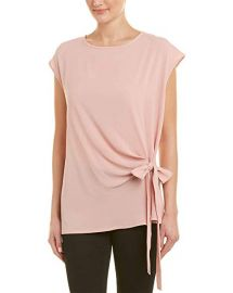 Short Sleeve Mix Media Tie Front Blouse at Amazon