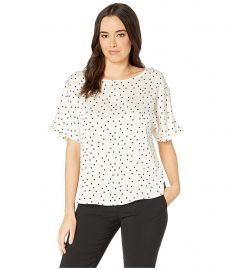 Short Sleeve Pleated Back Crisp Polka Dot Blouse at Zappos