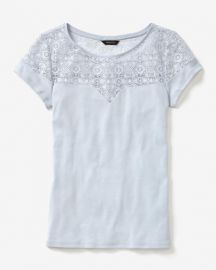 Short Sleeve Rib T-Shirt With Lace at RW&CO.