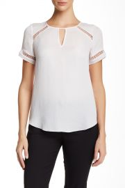 Short Sleeve Textured Silk Blouse at Nordstrom Rack