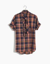 Short-Sleeve Tie-Neck Shirt in Junipero Plaid at Madewell