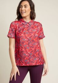 Short Sleeve Top with Trimmed Collar by Modcloth at Modcloth