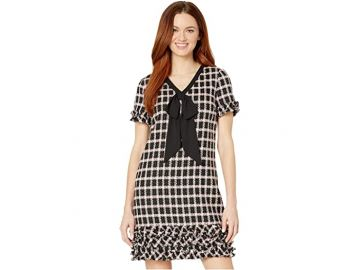 Short Sleeve V-Neck Grid Tweed Dress with Tie at Zappos