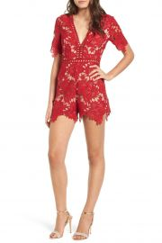 Short Sleeve V-Neck Lace Romper by ASTR the Label at Nordstrom Rack