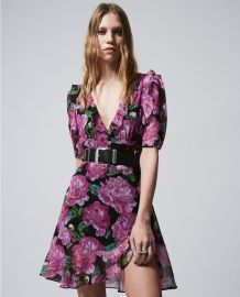Short frilly dress with floral print at The Kooples