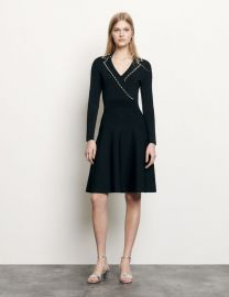 Short knit dress with tailored collar at Sandro