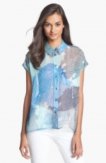 Short sleeve bright white multi print shirt at Nordstrom