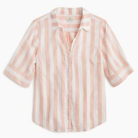 Short-sleeve button-up shirt in wide stripe at J.Crew
