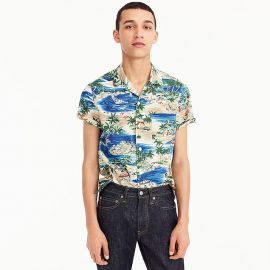 Short-sleeve slub cotton shirt in island print at J. Crew