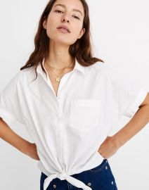 Short sleeve tie front shirt at Madewell