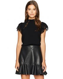 Shortsleeve Crepe Lace Top by Rebecca Taylor at Amazon