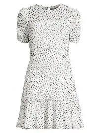 Shoshanna - Kayleigh Ruched Chevron  amp  Polka-Dot Flounce Dress at Saks Fifth Avenue