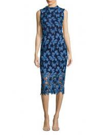 Shoshanna - MIDNIGHT Floral Lace Midi Dress at Saks Fifth Avenue