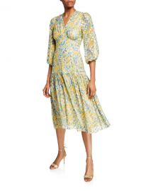 Shoshanna Aceline Printed V-Neck Blouson-Sleeve Midi Dress at Neiman Marcus