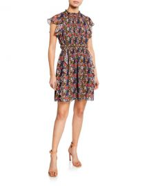Shoshanna Amora Floral-Print Cap-Sleeve Ruffle Mini Dress at Neiman Marcus