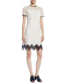 Shoshanna Carter Geo Lace Dress w  Contrast Trim   Neiman Marcus at Neiman Marcus