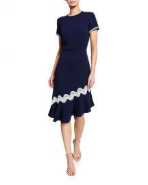 Shoshanna Dinan Short-Sleeve Asymmetric Crepe Dress at Neiman Marcus