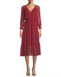 Shoshanna Eden V-Neck Smocked-Waist Silk Dress at Neiman Marcus