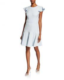Shoshanna Egle Crewneck Flutter-Sleeve Fit- amp -Flare Dress at Neiman Marcus