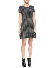 Shoshanna Jenny Short-Sleeve Houndstooth Dress at Neiman Marcus