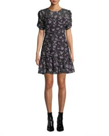 Shoshanna Kayleigh Floral Silk Ruched Dress at Neiman Marcus