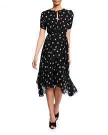 Shoshanna Savona Printed Jewel-Neck Short-Sleeve Dress at Neiman Marcus
