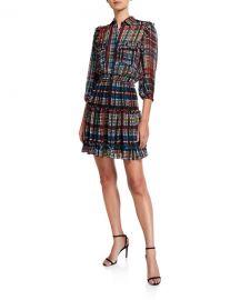 Shoshanna Selina Printed 3 4-Sleeve Smock-Waist Fit- amp -Flare Dress at Neiman Marcus